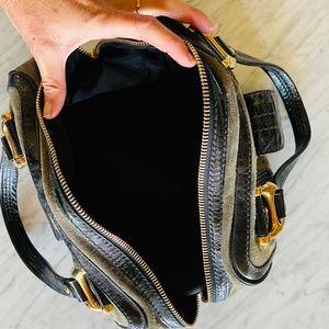GUCCI Aviatrix Boston Black Grey Suede Handbag